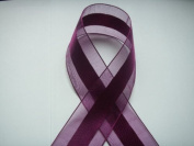 Purple Organza and Satin Ribbon 3.8cm Wide 25 Yards