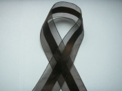 Dark Brown Organza and Satin Ribbon 3.8cm Wide 25 Yards