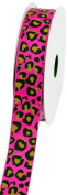 LUV Ribbons Creative Ideas Grosgrain Leopard Print Ribbon, 2.2cm , Hot Pink/Black