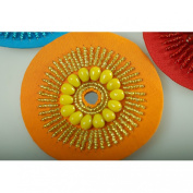 Neotrims Hand Crafted Indian Style Beaded Motifs Embellished Circular Sew On Badges Decoration. 7.5cms Diameter, Unique Indian Style Applique. Great Price & Limited Edition.