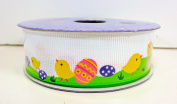 Jo-ann's Holiday Inspirations Easter Ribbon,white with Chicks & Decorated Easter Eggs on Grass,2.2cm x 9ft.