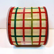Jo-ann's Holiday Inspirations Ribbon,tan/red/green Cheque,red Wire Edge,6.4cm x 12ft.