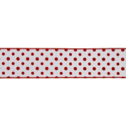 White and Red Polka Dot Wired Craft Ribbon 6.4cm x 10 Yards