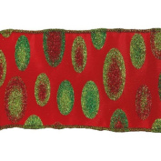 Ribbon Red and Green Dot Wired Christmas Craft Ribbon 6.4cm x 10 Yards