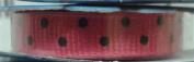 Offray Ribbon Hot Pink/Black Dots