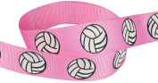 Hip Girl Boutique Ribbon 20yd or (4 x 5yd) 2.2cm Volleyball Grosgrain Ribbon--Pink