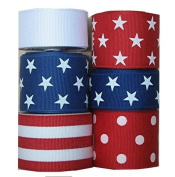 30 Yds Red / White / Blue Stars, Solids, Stripe Grosgran Ribbon