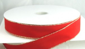 Wired Traditional Red Velvet Christmas Ribbon with Gold Edges 3.8cm #9 - 50 Yards