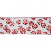 Red and White Peppermint Wired Craft Ribbon 10cm x 10 Yards