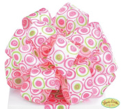 Pink & Lime Green Polka Dot Satin #9 Wired Ribbon 3.8cm X 20 Yards