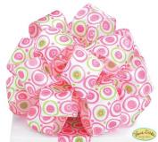 Pink & Lime Green Polka Dot Satin #9 Wired Ribbon 3.8cm X 20 Yards