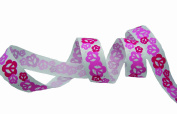 Etc Ribbons and More 20-Yard Spool Grosgrain Ribbon, 2.2cm , Pink/Fuchsia Flower Peace Sign