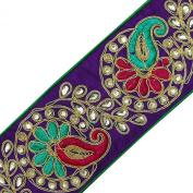 Purple Royal Fabric Trim Stones Sari Border Lace Craft Paisley Tape 1 Yard