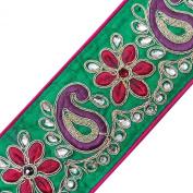 Royal Fabric Trim Beaded Sari Ribbon Tape Craft Green Paisley Design Lace 1 Yard