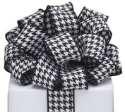 Black & White Herringbone #9 Wired Ribbon 3.8cm X 10 Yards