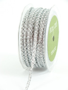 May Arts 0.6cm Wide Ribbon, Silver Chain Cord