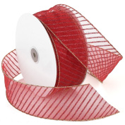 Morex Ribbon Stripes Wired Sheer Glitter Ribbon, 6.4cm by 50-Yard Spool, Red