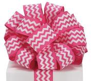 Pink White Chevron Satin Ribbon 3.8cm x 20 yard roll Gift Wrap Bow Wreath Decor