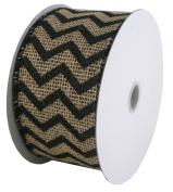 Burlap Ribbon 6.4cm X10Y Natural Chevron Wired