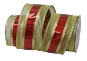 Renaissance 2000 Ribbon, 6.4cm , Gold with Red
