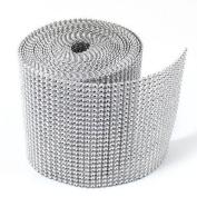12cm x 10 Yards Silver Diamond Diamante Mesh Rhinestone Ribbon Crystal Wraps