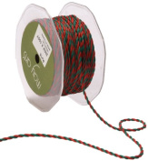 May Arts 0.2cm Wide Ribbon, Red and Green Twisted Rope