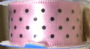 Offray Satin Pink & Black Dots Ribbon