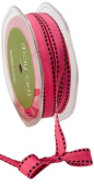 May Arts 1.3cm Wide Ribbon, Light Fuchsia Grosgrain with Black Stitches