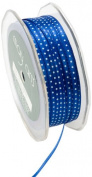 May Arts 0.3cm Wide Ribbon, Royal Blue and White Satin Dot