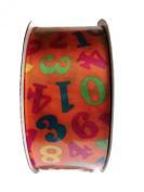 Double Face Satin Numeric Print Ribbon By Creative Ideas, Orange 3.8cm X 10 Yard Spool