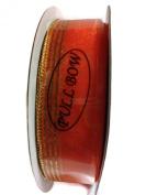 Organza Pull Bow Ribbon By Creative Ideas, Orange with Gold Metallic Edge 2.2cm Wide X 25 Yard Spool
