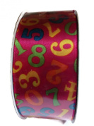 Double Face Satin Numeric Print Ribbon By Creative Ideas, Hot Pink 3.8cm X 10 Yard Spool