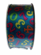 Double Face Satin Numeric Print Ribbon By Creative Ideas, Blue 3.8cm X 10 Yard Spool