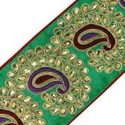 Fabric Trim Royal Beaded Sari Lace Crafting Green Paisley Tape 1 Yard