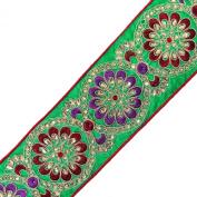 Beaded Fabric Trim Royal Stone Green Lace Craft Apparel Dress Drape Tape 1 Yard