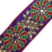 Floral Wide Trim Royal Blue Tape Craft Designer Sari Border Fabric Lace 1 Yard