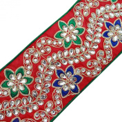 Red Royal Tape Floral Design Fabric Trim Embroidered Sewing Beaded Lace 1 Yard
