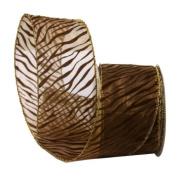 Renaissance 2000 Ribbon, 6.4cm , Brown Sheer with Brown Velvet Design