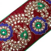 Floral Wide Trim Purple Royal Tape Craft Designer Sari Border Fabric Lace 1 Yard