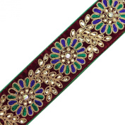 Maroon Velvet Fabric Lace Tape Trim Handcrafted Floral Embroidered Beaded 1 Yard