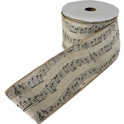 Music Notes Printed Fine Burlap Natural Colour Jute Ribbon Roll