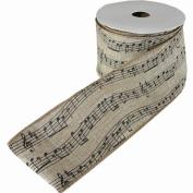 Music Notes Printed Fine Burlap Natural Colour Jute Ribbon Roll