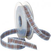 Morex Blackberry Plaid Ribbon, 1.6cm by 22-Yard Spool, Blue