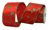 Renaissance 2000 Ribbon, 6.4cm , Red Velvet with Green Glitter Design