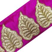 Magenta Base Royal Fabric Trim Acrylic Thread Border Sari Lace Sewing Sewing Craft 1 Yard