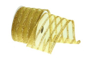 Renaissance 2000 Ribbon, 6.4cm , Gold Mesh with Lines