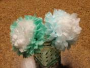 Pom-pom Tissue Paper Flower Kit, Blue Gradient