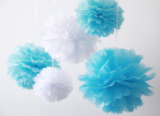 "PomPomSale Brand ""Its a Boy"" 5 Tissue Paper Pom Poms - Wedding / Baby Shower / Birthday Party / Nursery Decor"