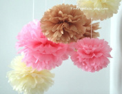 "PomPomSale Brand ""Baby Girl Nursery"" - 7 Tissue Paper Pom Poms - Wedding / Baby Shower / Birthday Party / Nursery Decorations"
