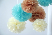 "PomPomSale Brand ""Baby Boy Nursery"" - 7 Tissue Paper Pom Poms - Wedding / Baby Shower / Birthday Party / Nursery Decorations"